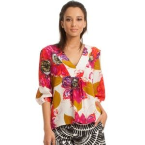 Trina Turk V Neck Silk Floral NANETTE Top Blouse